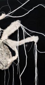 ANCESTORS HEART half part_ textiles Wandbild_40x40 cm_ 2018_Sarah Iris Mang
